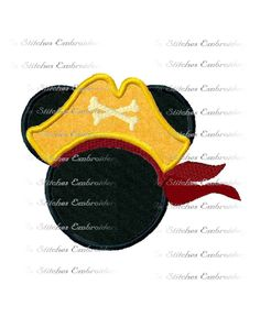 Disney inspired Pirate Mickey digital machine embroidery design - several sizes applique