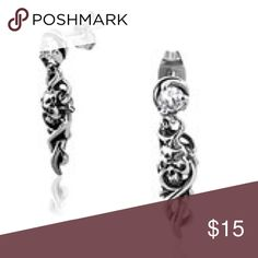 """Spiral skull with CZ studs Nickel free stainless steel 1 1/4"""" length biker gothic vamp underground fashion 3.3 grams weight Jewelry Earrings"""