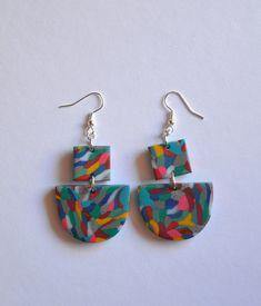 Multicolored earrings Funky statement earrings Handmade