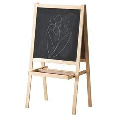 IKEA - MÅLA, Chevalet, bois de conifère/blanc,  , , Votre enfant peut l'utiliser de différentes façons : le chevalet est constitué d'un tableau blanc sur un côté et d'un tableau noir de l'autre.Se replie et se range facilement.
