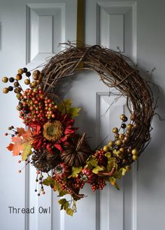 Thankful Thanksgiving Wreath by threadowl on Etsy, $45.99