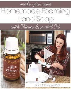Make your own all-natural homemade foaming hand soap using Young Living's Thieves essential oil - it's easier than you think! {includes video tutorial} | www.allthingsgd.com