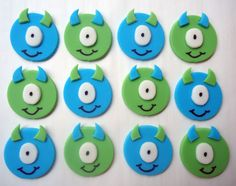 Fondant Cupcake Toppers Little Monsters by CakesAndKids on Etsy