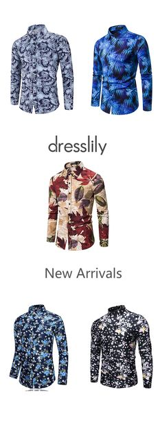 Maple Leaf Floral Print Slim Fit Button Casual Shirt Tiny Floral Pattern Full Sleeves Shirt Leisure Printed Long Sleeves Button Up Shirt #dresslily #leaf #flower #longsleeves #shirts #men #fall #style