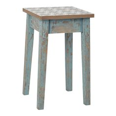 This small wooden ARMELLE stool featuring a cement tile print just adds energy and colour into your interior. This small occasional seat could either be used as a regular seat or as a side table. Patina Finish, Wooden Stools, Affordable Furniture, Room Accessories, Small Tables, New Room, Wood And Metal, Cottage Style, Home Projects
