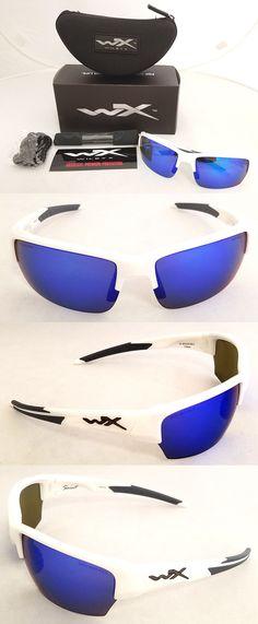 81dfba12f1 Sunglasses 151543  Wiley X Saint Polarized Sunglasses Blue Mirror Lens  Gloss White Frame Chsai09 -