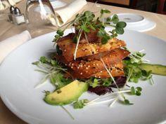 Springtime Special Appetizer:  Ahi Tuna Tartar on a Crispy Wonton with Avocado and Daikon Sprouts!