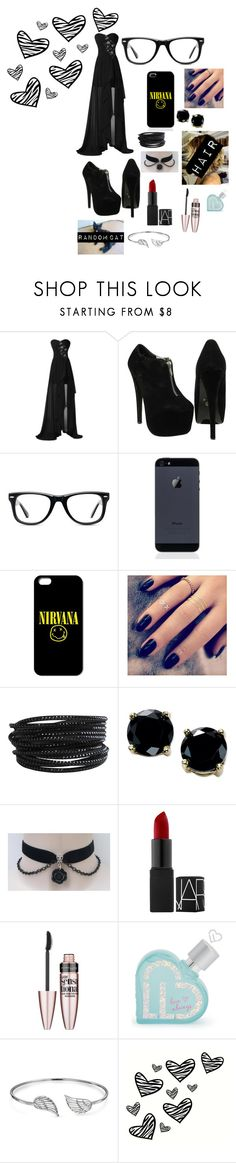 """""""Fancy Black"""" by qveen-of-stars ❤ liked on Polyvore featuring Muse, Lottie, Pieces, B. Brilliant, Maybelline, Aéropostale and Bling Jewelry"""