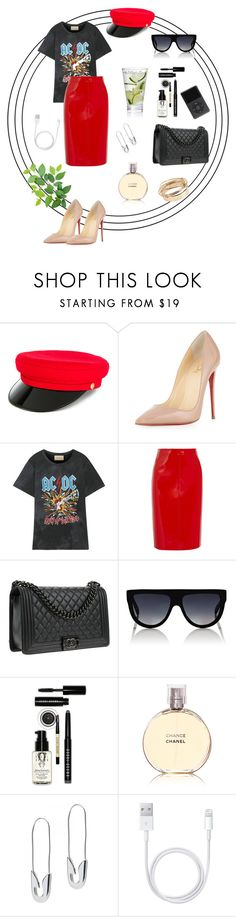 """""""Untitled #16"""" by ioana-irimus-1 on Polyvore featuring Manokhi, Christian Louboutin, Gucci, Valentino, Chanel, CÉLINE, Bobbi Brown Cosmetics and Tom Binns"""