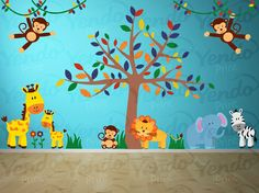 Wall Decal - Jungle Decal - Jungle Wall Decal - Giraffe, Elephant, Monkey, Lion, Zebra - Baby Boys Girls Bedroom Room