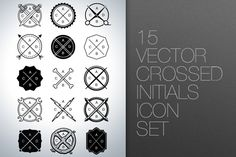 Vector Crossed Initials Icon Set ~~ Variety of crossed vector icons. Customize the initials with your letters or symbols. Use any typeface you see fit.    Included in: AI, EPS, JPG, PDF