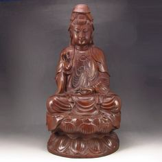 Superb Hand-carved Chinese Natural Verawood Statue - Kwan-yin Dimension: 440*220*200(mm) 17.32*8.66*7.87(in) Weight 18.74 lbs/8.5 kg