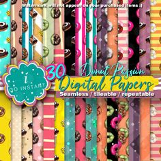 #Donut #Passion #Digital #Papers #seamless #fabrics #wrapping #scrapbooking #planner #craft #invitation #party #birthday #doughnut #colors #instant #sales #must #checkered