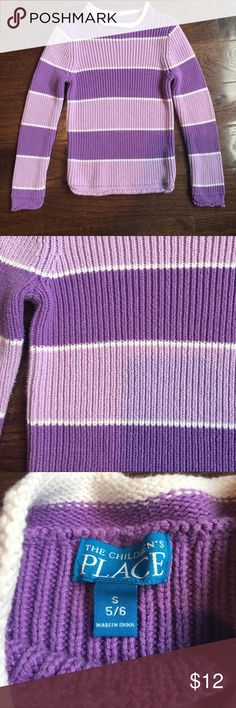 Girls Purple Sweater Girls purple striped sweater. Size 5/6. Feel free to bundle and make an offer 😊 The Children's Place Shirts & Tops Sweaters