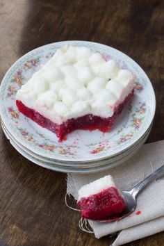 Raspberry Marshmallow Jello Salad, Cheesecake Snickers Salad and More - Oh Sweet Basil Marshmellow Salad, Marshmallow Desserts, Recipes With Marshmallows, Fruit Salad With Marshmallows, Raspberry Jello Salad, Strawberry Pretzel Salad, Jello Recipes, Dessert Recipes, Salad Recipes
