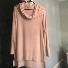 Michael stars cowl neck sweater LOVE this Michael stars sweater! It is a beautiful blush color. It runs big and has gotten some wear as you can see in the picture. But it's still super cute I would keep it but it's a little big on me! Michael Stars Sweaters