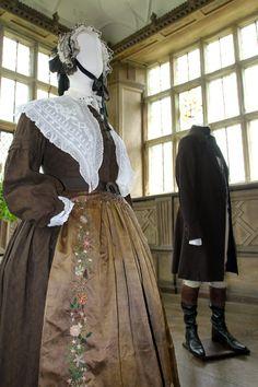 Dame Judi Dench - Mrs Fairfax heavy brown print cotton the apron pure silk antique the fischu and cuffs also antique