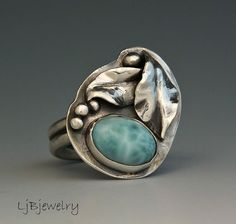 Sterling Silver Ring, Larimar Ring, Gemstone Ring, Light Blue stone Ring, Leaf Ring,  Ring Size 7, OOAK
