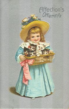 Victorian girl with a basket of kittens/cats.