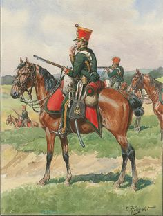 Chasseurs a Cheval, Young Guard squadron 1812 by Lucien Rousselot