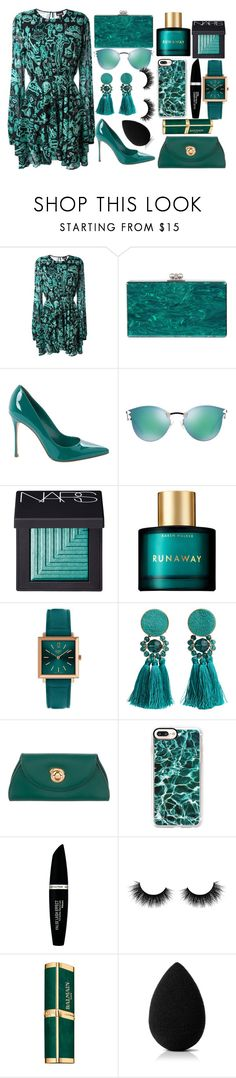 """Going Dark in Spring"" by bravegirly ❤ liked on Polyvore featuring Just Cavalli, Edie Parker, Sergio Rossi, Fendi, NARS Cosmetics, Karen Walker, Henry London, MANGO, Cartier and Casetify"