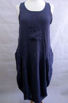 """XL Size Guide 14 - 18 Lagenlook NAVY Linen Pinafore / Tunic Dress Bust to 42"""""""