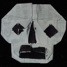 2173 - Skull Receipt.Want to know the story behind the project? Check out my blog. rosannesart365.blogspot.com #makesomething365 #RosannesArt #CreativeSprint #SkullADay #skull #origami #sculpture #recycle #receipts #upcycled #blog