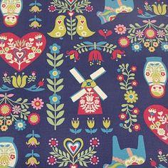 folk inspired fabric from Kokka