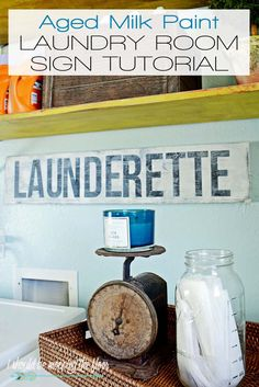 i should be mopping the floor: Milk Paint Laundry Room Sign Tutorial