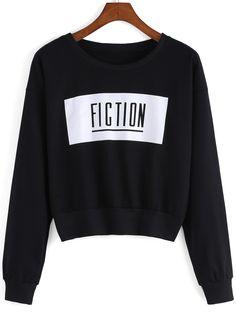 Black Round Neck Fiction Print Crop Sweatshirt , 40% Off 1st Order