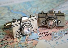 Camera Cufflinks Swarovski Crystal Glass Lens Antiqued Silver Cufflinks Men's Gifts Men's Cufflinks