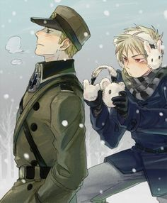 Prussia and Germany. Aww! Germany's trying to be all cool and epic, and Prussia doesn't want his brother to be cold.