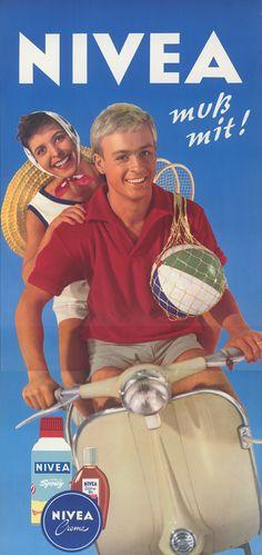 NIVEA Moisturizer - 1959 vintage ad  couple on moped