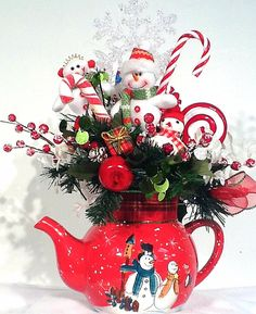 Whimsical Snowman Family Teapot Centerpiece Floral Arrangement Sweet Treats Christmas Holiday Winter by Cabin Cove Creations