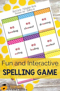 Give your students a fun and interactive way to practice advanced spelling patterns with this Spelling Card Game. Students will identify a phoneme in the word and then give the correct spelling pattern for the word. This game focuses on 20 phonemes and the different spelling patterns for each one. This game is perfect for a whole class warm-up, small group instruction, a word work station, or an independent learning center.
