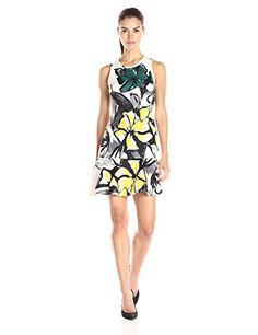 Karen Kane Women's Floral Scuba Flirt Dress, Print, X-Sma...