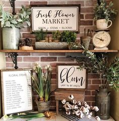 "77 Likes, 2 Comments - ShabbyShackDesigns (@shabbyshackdesigns) on Instagram: ""How cute are these @qbhome signs! Ready to get fresh flowers for the house! #farmhouse…"" Visual merchandising. Retail store display."