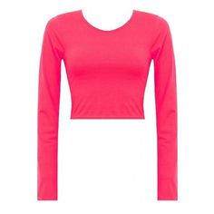 Neon Pink Long Sleeve Jersey Crop T Shirt Top ($7.73) ❤ liked on Polyvore featuring tops, t-shirts, white crop top, white crop tee, crop top, long sleeve t shirts and white tee