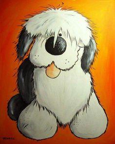 old english sheepdog cartoon art see more happiness