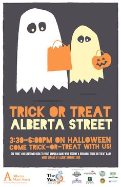 Trick or treat Alberta Street this Halloween! 3:30-6 PM.