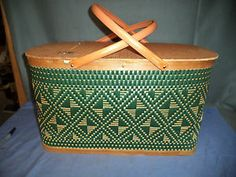 Vintage Hawkeye By Burlington Picnic Basket Green Woven Design W/ 2nd Tier Tray | eBay