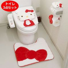 Hello Kitty bathroom - toilet, mat, toilet paper holder