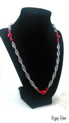 Long Spiral Chainmaille Necklace with Red Mountain Jade Beads