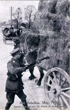 Ireland's Easter Rising, May 1916 - British Soldier searching a hay cart for Rebels or Ammunition Old Pictures, Old Photos, Celtic Signs, Ireland 1916, Irish Independence, Erin Go Braugh, Irish Drinks, Easter Rising, Scotland History