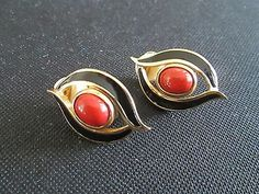 Christian Dior Clip-on Earrings red and Black Enamel Gold Plate oval shape - http://designerjewelrygalleria.com/christian-dior/christian-dior-clip-on-earrings-red-and-black-enamel-gold-plate-oval-shape/