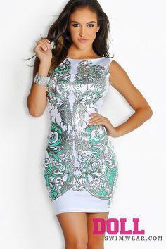 White And Mint Green Silver Designer Print Dress
