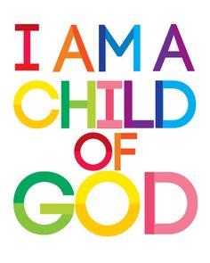 I am a Child of God Poster Christian Print- Church Nursery Art - Colorful  Scripture - Children Bible Verse Wall Art Digital Download - 8x10