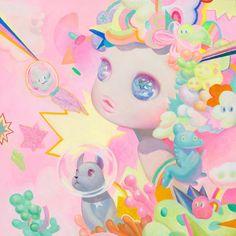 ARTIST: So Youn Lee (US/Korea) - Pretty Pastels | See More:  https://society6.com/product/i-see-you-6gk_print?curator=yellowmenace#s6-2548625p4a1v1 | #Yellowmenace #KoreanArt #painting #contemporaryart #Society6