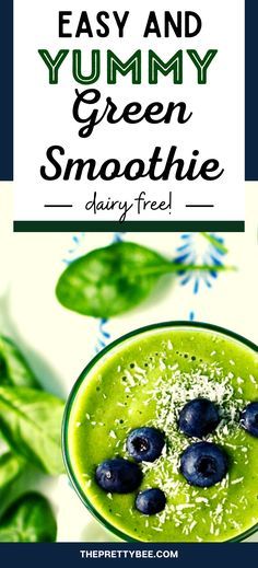 This contains: green smoothie in a glass with blueberries on top