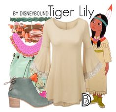 """""""Tiger Lily"""" by leslieakay ❤ liked on Polyvore featuring Emily & Ashley, Deepa Gurnani, Kendra Scott, Lemaré, disney, disneybound and disneycharacter"""
